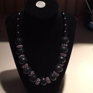 Jewelry - One of a kind handcrafted necklace in pink & black